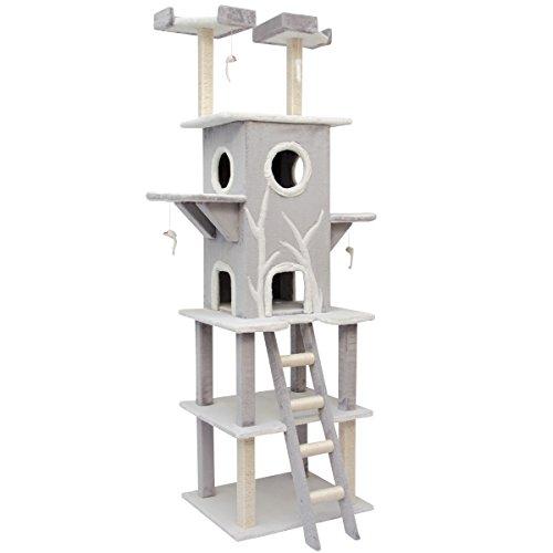 Rascador para gatos en gris y blanco 2,10m aprox. de alturas