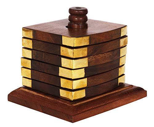 Untersetzer aus Holz mit handgraviertem Halter - für Tee- und Kaffeetassen, Becher, Getränke, Glas-Untersetzer (Herz-Handarbeit) -