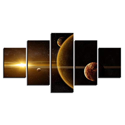 (Moderne Leinwand Wandkunst Bilder Home Decor 5 Stücke Universum Weltraum Planeten Gemälde Druckt Erde Mond Abstrakte Poster)