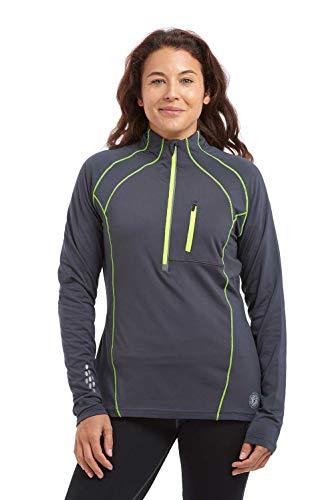 time to run Thermo-Quick Dry Laufshirt Funktionsshirt mit Kragen-Reißverschluss für Damen 38 Holzkohle Grau