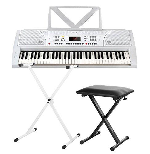 Funkey 61 Keyboard Weiß inkl. höhenverstellbarem Ständer und Sitzbank (61 Tasten, 100 Klangfarben, 100 Rhythmen, 8 Demo Songs, Netzteil, Notenständer)