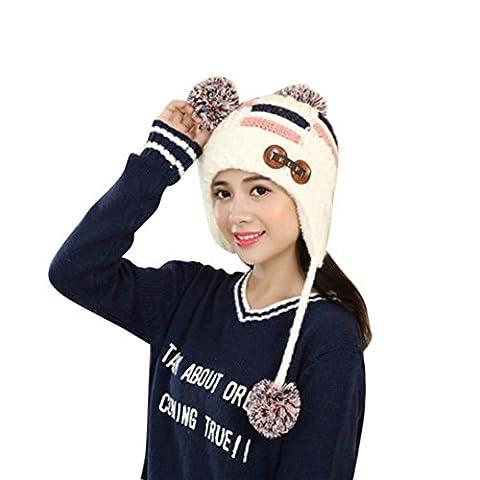 Womens Beanie,Clode® Women Winter Warm Braided Crochet Wool Knit Hat Beret Ski Beanie Ball Cap (White)