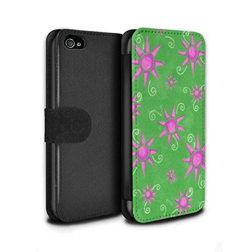Stuff4 Coque/Etui/Housse Cuir PU Case/Cover pour Apple iPhone 4/4S / Turquoise/Rouge Design / Motif Soleil Collection Vert/Rose