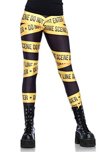 Leg Avenue 13547 - Crime scene leggings, Medium, Schwarz Gelb (Leg Avenue Weihnachts Kostüm)