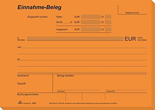 RNK 3021 - Einnahme Beleg, Block mit 2 x 50 Blatt mit Durchschreibepapier, DIN A5 quer
