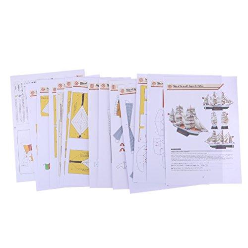 Homyl DIY 3D Papier Segelboot Modell Papiermodell Architektur Modellbausatz Lernspiel für Kinder (Papier Modell Autos)