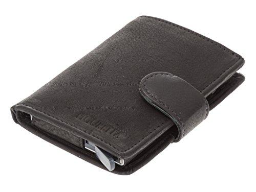 Figuretta Premium RFID Geldbörse Salisbury Schwarz vintage Look - Praktische Minibörse mit Aluminium Kreditkartenetui - Optimaler Schutz für Ihre Kreditkarten - 2 Jahre Garantie