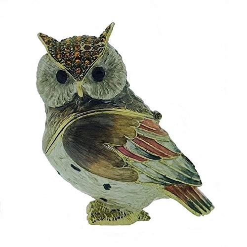 Home and Holiday Shops Large Owl Bejeweled Enamel Jewelry Trinket Keepsake Box Container Bird New -