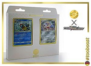 Turtok (Tortank) 25/181 & Caesurio (Scalproie) 105/181 Tooboost X Sonne & Mond 9 Teams Sind Trumpf - Juego de 10 Cartas Pokémon y 1 Goodie Pokémon