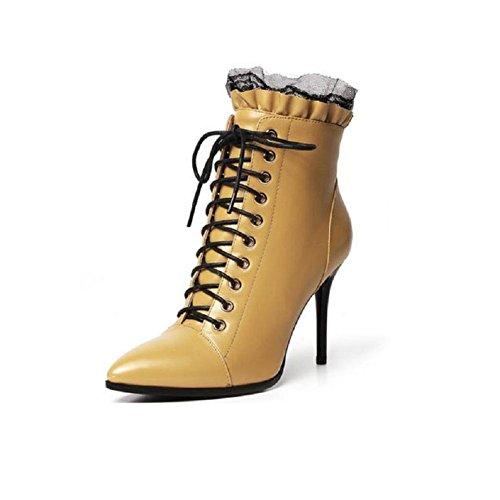 YYH Scarpe stivali inverno pizzo dolce nudo pelle aguzzo stivaletto con tacco alto a spillo . yellow . 35