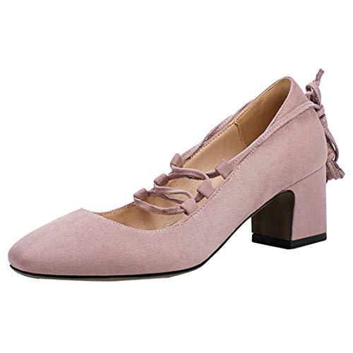 JYshoes High Heels Pumps Schnüren Blockabsatz Damen Schuhe 6cm Absatz Damenschuhe Samt Lavendel 36 EU - Lavendel Samt