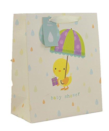Große Baby Dusche Geschenk Tasche, Gelb Chick Holding Geschenk & Regenschirm 33x 26cm (Große Baby-dusche-geschenk-taschen)