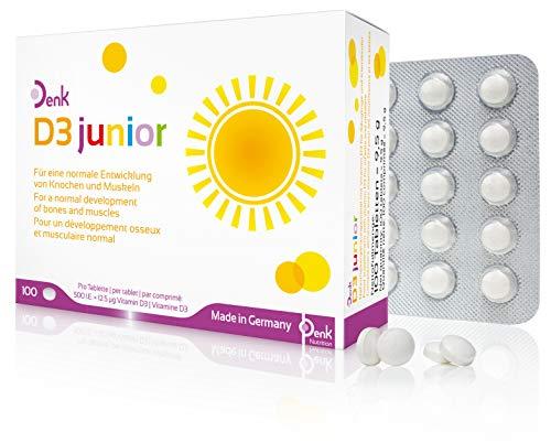 Denk D3 junior - Vitamin D für Säuglinge und Kleinkinder - Nahrungsergänzung ab der Stillzeit - 100 Tabletten