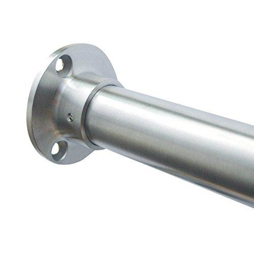 Edelstahl Garderobenstange im Set -- Edelstahlrohr 21,3 mm - 60,3 mm -- hochwertige geschliffene Oberfläche -- für offene Nischen im Raum und Schränke -- Premium Qualität (Länge 1250 mm, Rohr 33,7 mm)