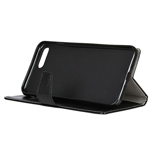 Crystal Grain Texture PU Leder Brieftasche Case, Solid Farbe Flip Stand Case Cover mit Card Slots & Kickstand für Asus Zenfone 4 MAX ZC554KL ( Color : Rose ) Black