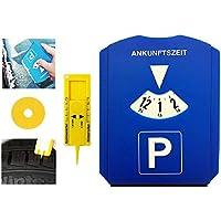 Gibtplus Parkscheibe Parkuhr mit Reifenprofiltiefenmesser, Eiskratzer und Einkaufswagenchip Kunststoff blau fürs Autos