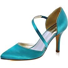 ElegantPark HC1711 punta estrecha de las mujeres tacones de aguja zapatos de tacón alto correas boda