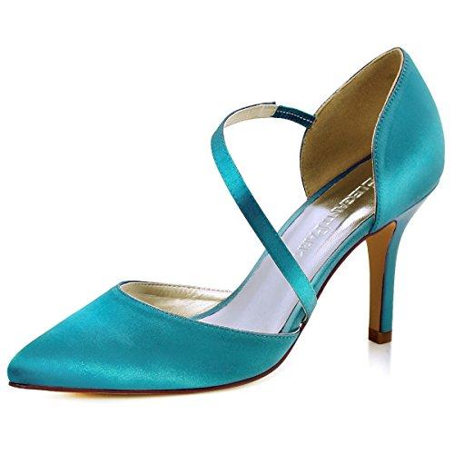 ElegantPark HC1711 donne Pointed Punta D`orsay alti tacco sera partito nozze Sposa scarpe Teal