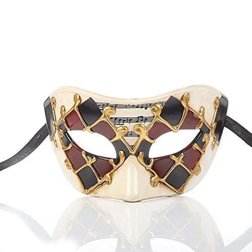 YCWY Vintage venezianischen Maskerade Masken, handgemachte Gold venezianischen Party Kostüm Maske Halloween Cosplay Maske für Ball Prom,Red