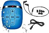 【2020 NUOVA VERSIONE】 HIFI MP3 Subacqueo Nuoto per Nuoto e Corsa, Cuffie Subacquee con Cavo Corto (3 Tipi Di Auricolari), Funzione Shuffle (Blu)