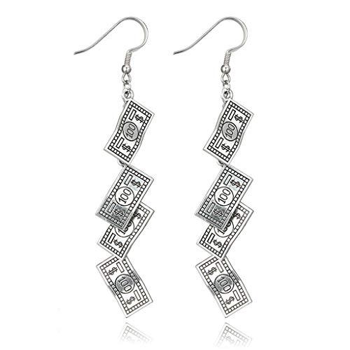 Jiamins Hängeohrringe - Modeschmuck Ohrringe Für Damen,Antike Lustige 100 Dollar Bill Geld Währung Silber Ohrringe