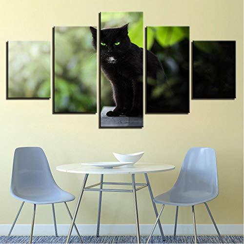 Kunst Tierposter Drucken Bilder Rahmen Moderne 5 Stücke Schwarze Katzen Grüne Augen Landschaft Modulare Leinwand Gemälde Wanddekor