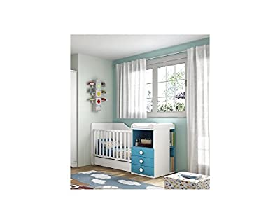 Cuna Convertible Infantil . Color Blanco Combinado Con Azul Aqua
