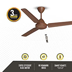 Gorilla Efficio Energy Saving 5 Star Rated 3 Blade Ceiling Fan With Remote Control and BLDC Motor, 1200mm- Brown