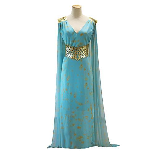 WOSOSYEYO Juego de Tronos Daenerys Targaryen Cosplay Vestido de Fiesta Azul Qarth Cuello de Pico Mangas largas Traje de Cosplay