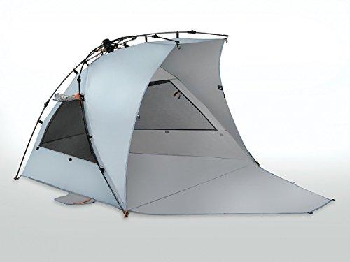 chutz Reka KOHU Plus Strandmuschel 2 größeren Fenstern und Einer Bodenplane | 98% UV Schutz vor schädlichen Sonnenstrahlen (USF 50+) (Blau) ()