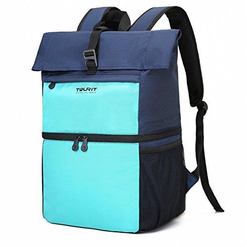 TOURIT Leicht Rucksack Kühltasche mit Laptopfach für Laptop bis zu 15,6 Zoll Doppelte Schicht für Arbeit, Reisen, Camping, Wandern Hellblau -