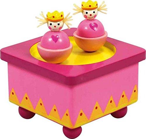 Boîte à musique en bois avec deux princesses qui tournent au rythme de la musique