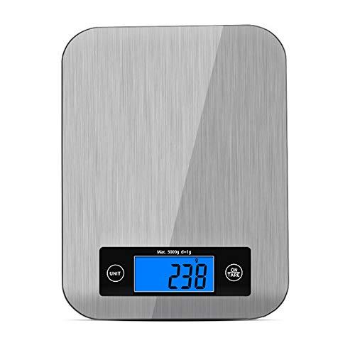 Bilancia da cucina digitale, bilancia da cucina elettronica in acciaio inox da 5kg con gancio, display lcd blu, funzione tara, spegnimento automatico,bilance da cucina professionali che pesa cibo