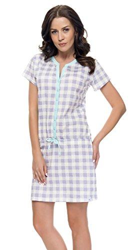 dn-nightwear TM.7041 Favolosa Camicia Da Notte Di Maternita Di Cotone Grey Mint
