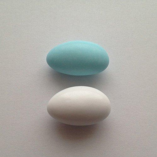 Taufmandeln 1 kg hellblau/weiß, rosa/weiß, hellblau/rosa gemischt (für mind. 65 Gäste) - Gastgeschenke Taufe Bonboniere Kommunion Zuckermandeln Konfirmation, Farbe:glänzend - weiß & hellblau