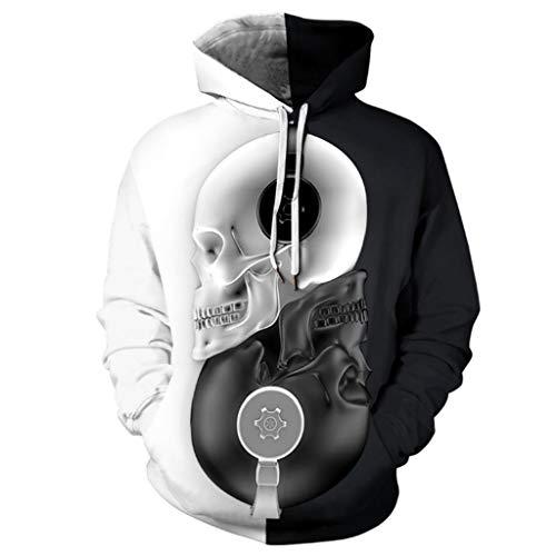 HAOHAOWU Tai Chi Schädel Retro Hoodie, Sportswear Langarm Sweatshirts Hoodies 3D Print Pullover Halloween Mit Taschen Casual Sport Pullover Tops,Pattern,XL