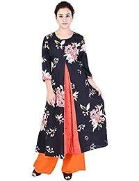 Teej Women's New Fashion Floral Printed Flare Anarkali Stylish Kurta