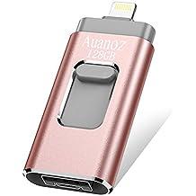 Clé USB à Mémoire Flash De 128 Go pour iPhone, Auanoz Extension pour Carte Mémoire De Stockage Externe pour iPod/iPhone/iPad/Android et Ordinateurs (Rose)