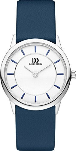 Danish Design Women's Quartz Watch with White Dial Analogue Display and Blue Leather Strap DZ120416