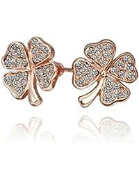 c21add92a9d6 KNSAM - Pendientes Mujer Corazón Trébol de 4 Hojas Cristal 18K Chapado en Oro  Aretes para