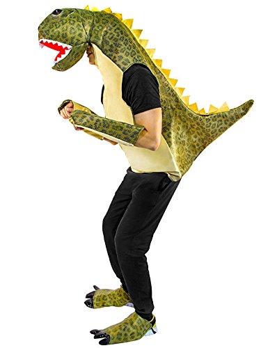 Generique - Wilder Dinosaurier Unisex-Kostüm für Erwachsene Weiss-grün Einheitsgröße