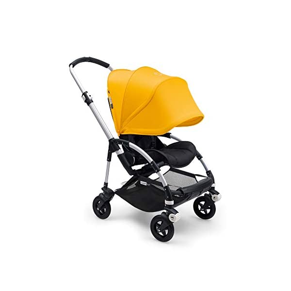 Bugaboo Bee 5, Foldable and Lightweight Pushchair, Converts Into Pram, Black/Sunrise Yellow Bugaboo The perfect choice for travel and city living Use a cocoon or carrycot to convert into a pram for newborns (both sold separately) Compatible with a wide range of car seats (please see list below) 3