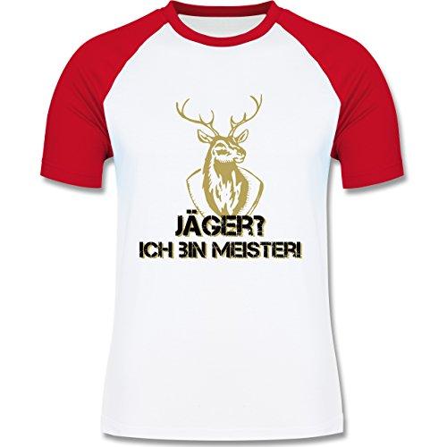 Après Ski - Jäger? Ich bin Meister! - zweifarbiges Baseballshirt für Männer Weiß/Rot