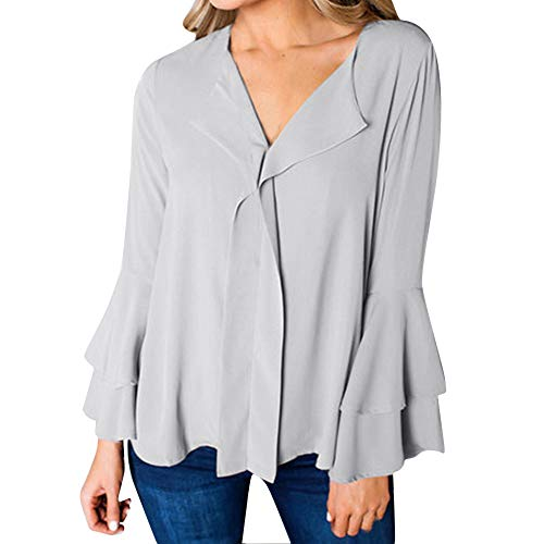 Layered Rüschen Top (FeiBeauty 2018 Frauen Casual Solid Layered Lange Aufflackernhülse mit V-Ausschnitt Rüschen T-Shirt Top Freizeit Chiffon Manschetten-Ärmel Locker Shirt Bluse)