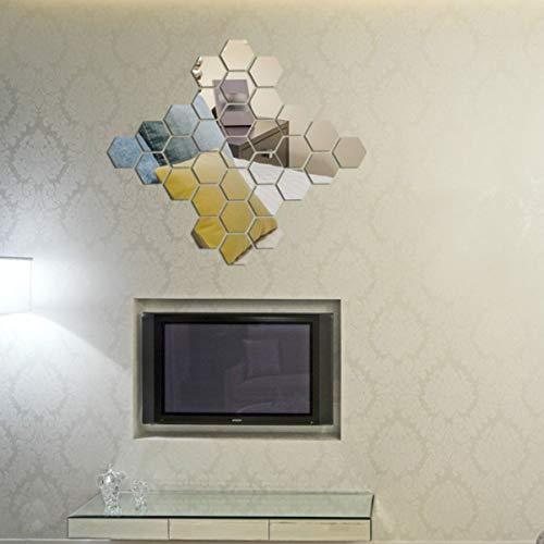ExcLent 12Pcs 3D Mirror Hexagon Vinyl Diy Removable Wall Sticker Art Decal Home Decor - schwarz