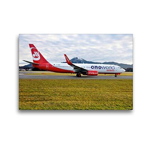 Calvendo Premium Textil-Leinwand 45 cm x 30 cm Quer, One World - Air Berlin | Wandbild, Bild auf Keilrahmen, Fertigbild auf Echter Leinwand, Leinwanddruck: Boeing 737-86J D-ABME Mobilitaet Mobilitaet -
