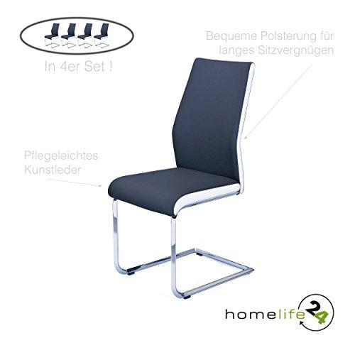 H24living Freischwinger 4er-Set Schwingstühle, Schwinger, Stühle, Esszimmerstühle mit hochwertigem Kunstleder schwarz und weißen Streifen, Metall verchromt