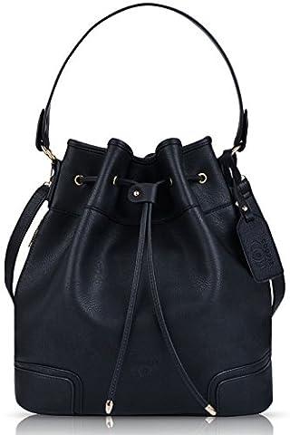 Beuteltasche Damen, COOFIT Bucket Bag Umhängetasche Damen Handtasche Leder Schultertasche
