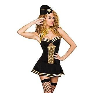 Atixo Stewardess-Kostüm von Saresia roleplay - schwarz/gold, Größe Atixo:XS-M