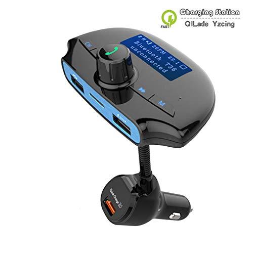 Bluetooth FM Transmitter, kabellose In-Car FM Transmitter-Freisprecheinrichtung mit 1,44-Zoll-Display/QC3.0- und Smart 2A-USB-Anschlüssen/TF-Kartensteckplatz/U-Festplattenspeicher bis zu 32 G -